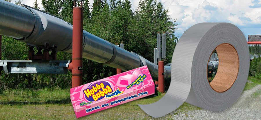 Bubble Gum and Duct Tape Temporary Repairs on Pipeline Systems